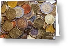 Euro Coins Greeting Card