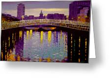 Evening - Ha' Penny Bridge- Dublin Greeting Card by John  Nolan