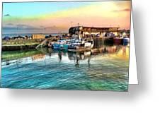 Evening Bridlington Harbour Greeting Card