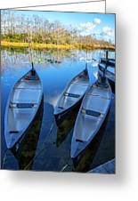 Evening Canoes At The Dock Greeting Card