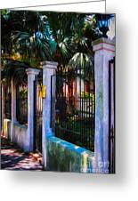 Evening Fence And Gate - Nola Greeting Card