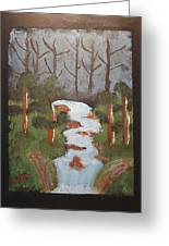 Evening Forest Waterfall Greeting Card