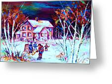 Evening  Game At The Chalet Greeting Card