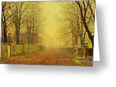Evening Glow Greeting Card by John Atkinson Grimshaw