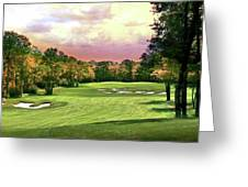 Evening Golf Course Scene Greeting Card