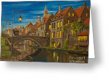 Evening In Brugge Greeting Card