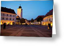 Evening In Sibiu's Grand Square Greeting Card