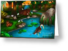 Evening In The Deep Green Forest Greeting Card