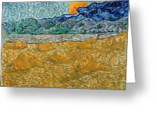 Evening Landscape With Rising Moon Greeting Card