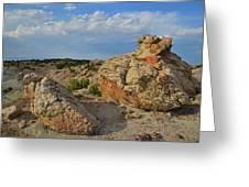 Evening Light On Boulders Of Bentonite Site Greeting Card