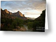 Evening Light On Watchman Greeting Card