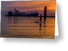 Evening On Lake Michigan At Grand Haven Greeting Card