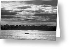 Evening On South River - Bw Greeting Card