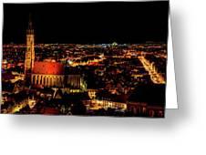 Evening Panorama - Landshut Germany Greeting Card