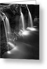 Evening Plunge Waterfall Black And White Greeting Card