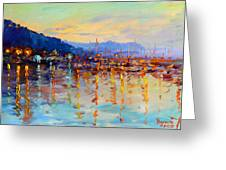 Evening Reflections In Piermont Dock Greeting Card