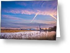 Evening River Scene Greeting Card
