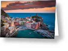 Evening Rolls Into Vernazza Greeting Card