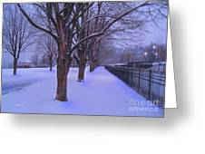 Evening Snow Path At Waterfront Park Burlington Vermont Greeting Card