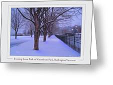 Evening Snow Path At Waterfront Park Burlington Vermont Poster Greeting Card Greeting Card