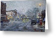 Evening Snowfall At Webster St Greeting Card