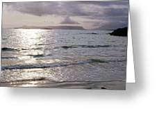Evening The Isle Of Eigg  Inner Hebrides From The Beach At Arisaig Scotland Greeting Card
