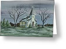 Evening Worship In Winter Greeting Card