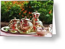Event - Tea Garden Party Silver Sevice Greeting Card