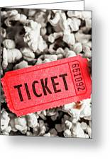 Event Ticket Lying On Pile Of Popcorn Greeting Card