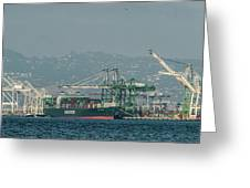 Evergreen Freight Ship And Cargo In Port Of Oakland, California Greeting Card
