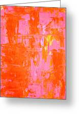 Everyone's Fav - Pink And Orange Abstract Art Painting Greeting Card