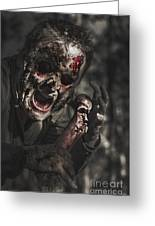 Evil Male Zombie Screaming Out In Bloody Fear Greeting Card