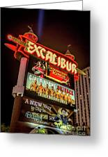 Excalibur Casino Sign Night Greeting Card