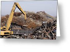 Excavator Moving Scrap Metal With Electro Magnet Greeting Card