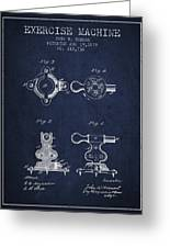 Exercise Machine Patent From 1879 - Navy Blue Greeting Card
