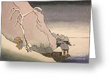 Exiled Buddhist Cleric Nichiren In The Snow Greeting Card