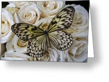 Exotic Butterfly On White Roses Greeting Card