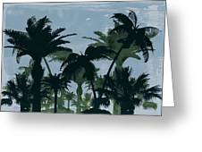 Exotic Palm Trees Silhouettes Water Color Greeting Card