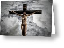 Experimental Female Crucifix 3d I Greeting Card