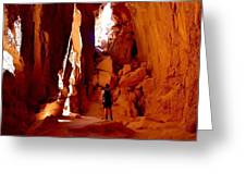 Exploring A Cave Greeting Card