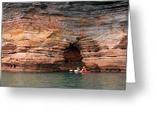 Exploring The Sea Caves Greeting Card