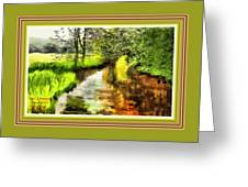 Expressionist Riverside Scene L A With Alt. Decorative Printed Frame. Greeting Card