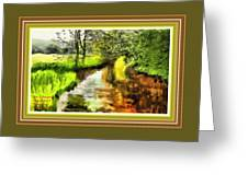 Expressionist Riverside Scene L A With Decorative Ornate Printed Frame Greeting Card