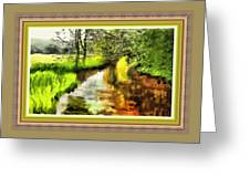 Expressionist Riverside Scene L B With Alt. Decorative Printed Frame.  Greeting Card