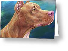 Expressive Painting Of A Red Nose Pit Bull On Blue Background Greeting Card