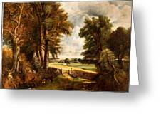 Extensive Landscape With Boy Drinking Water Greeting Card