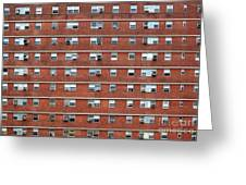 External Facade With Many Windows All Identical. Greeting Card
