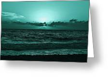 Extreme Green Sunset  Greeting Card
