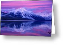 Extreme Sunset On Lake Mcdonald Greeting Card