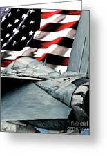 F-14 And Flag Greeting Card